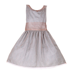 Soft Pink Mesh Big Bow Below Knee Girls Holiday Party Dress