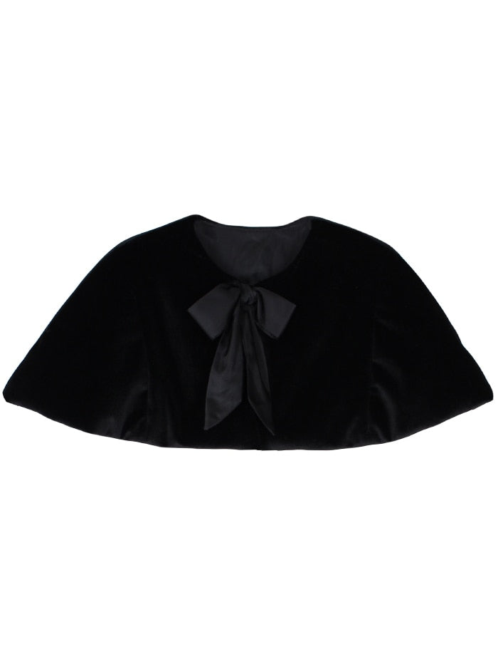 Medium Length Velvet Padded Girls Cape with Bow