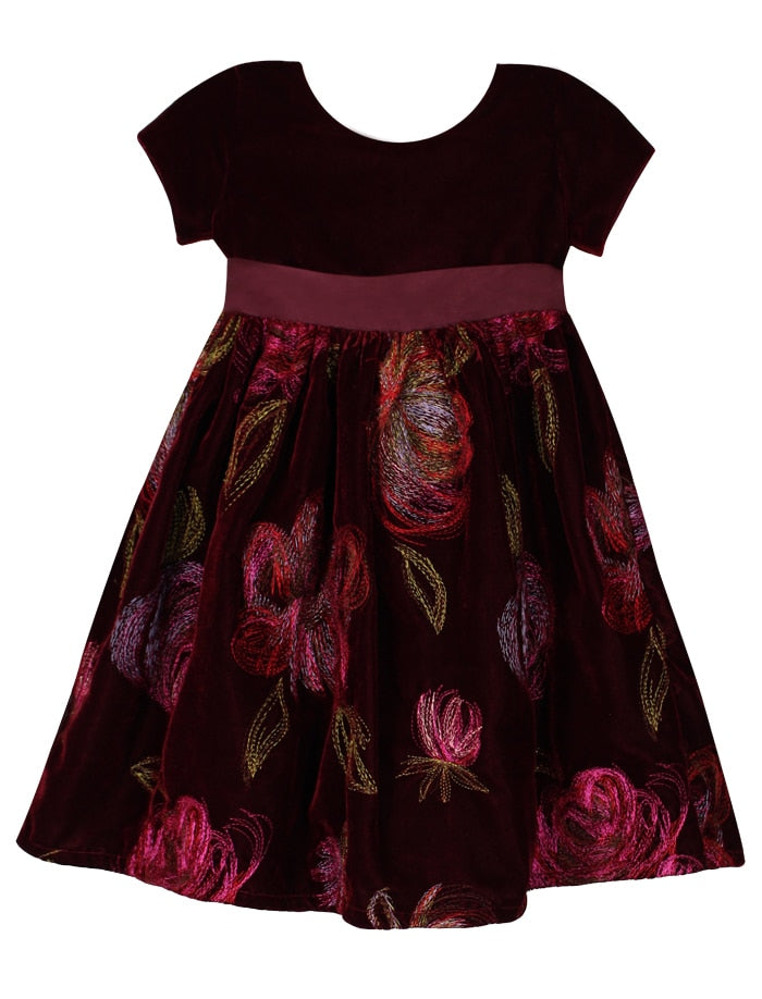 Closed Back Velvet Holiday Girls Dress with Embroidered Roses Skirt