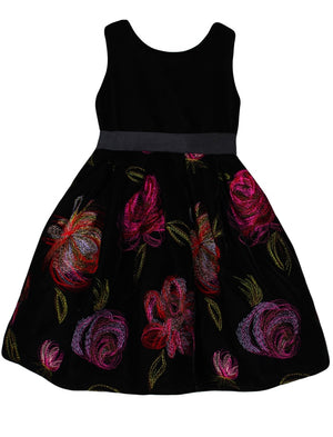 V-back Velvet Holiday Girls Dress with Embroidered Roses Skirt
