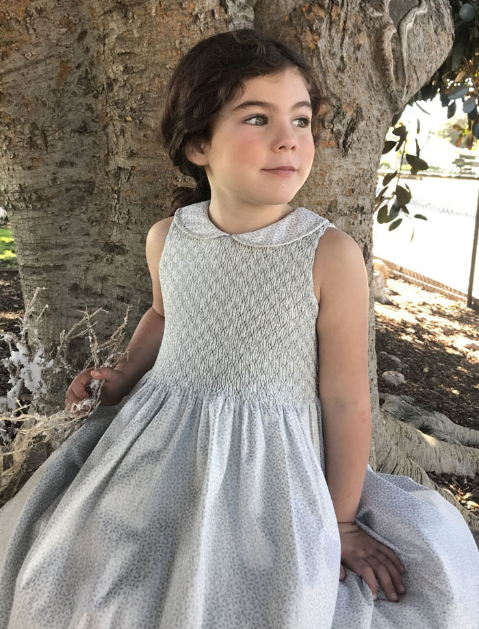 Sleeveless Winter Vines Hand Smocked & Embroidered Bodice Girls Dress
