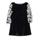 Black Velvet Girls Shift 3/4 Speckled Floral Sleeves