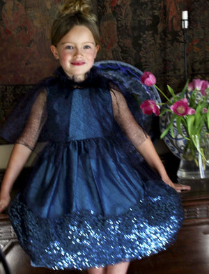 Navy Mesh Ruffle Girls Cape with Velvet Tie