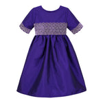 Plum Taffeta & Velvet Girls Dress Half Sleeve