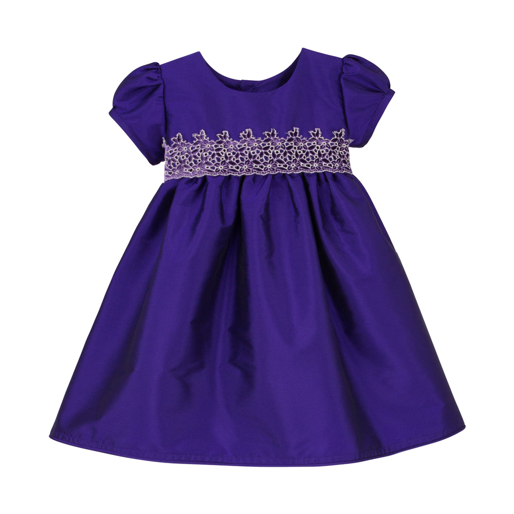 Plum Taffeta & Velvet Baby Dress Short Sleeve