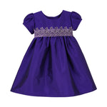 Plum Taffeta & Velvet Girls Dress Short Sleeve