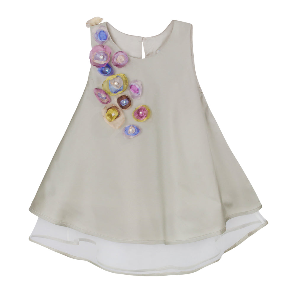 Bias Cut Silver Taffeta Girls Dress with Organza Flowers Sleeveless