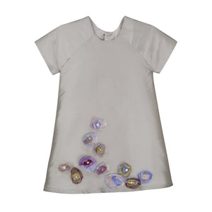 A-line Silver Taffeta Baby Dress with Organza Flowers