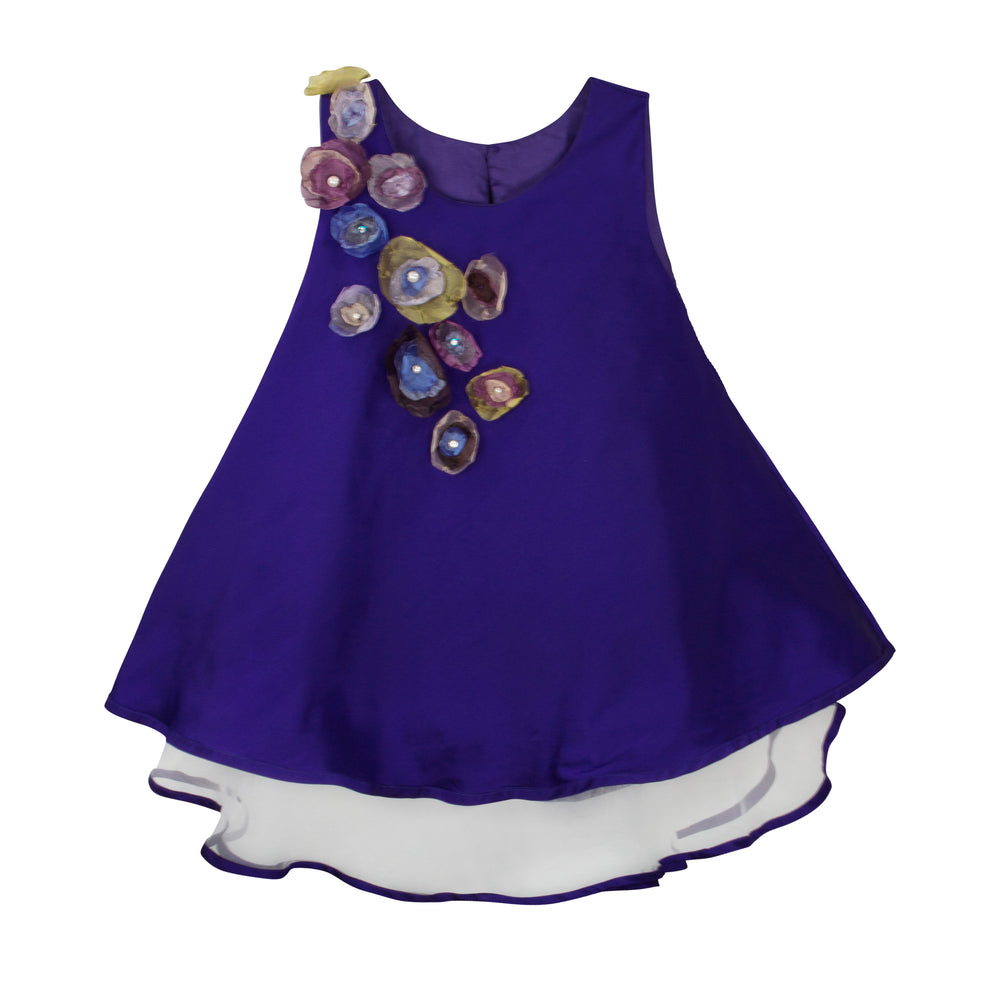 Bias Cut Taffeta Girls Dress with Organza Flowers Sleeveless