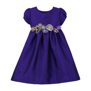 Taffeta Waisted Baby Dress with Organza Flowers Short Sleeve