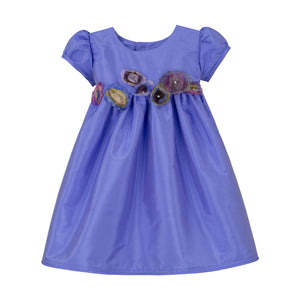 Lilac Taffeta Waisted Baby Dress with Organza Flowers Short Sleeve