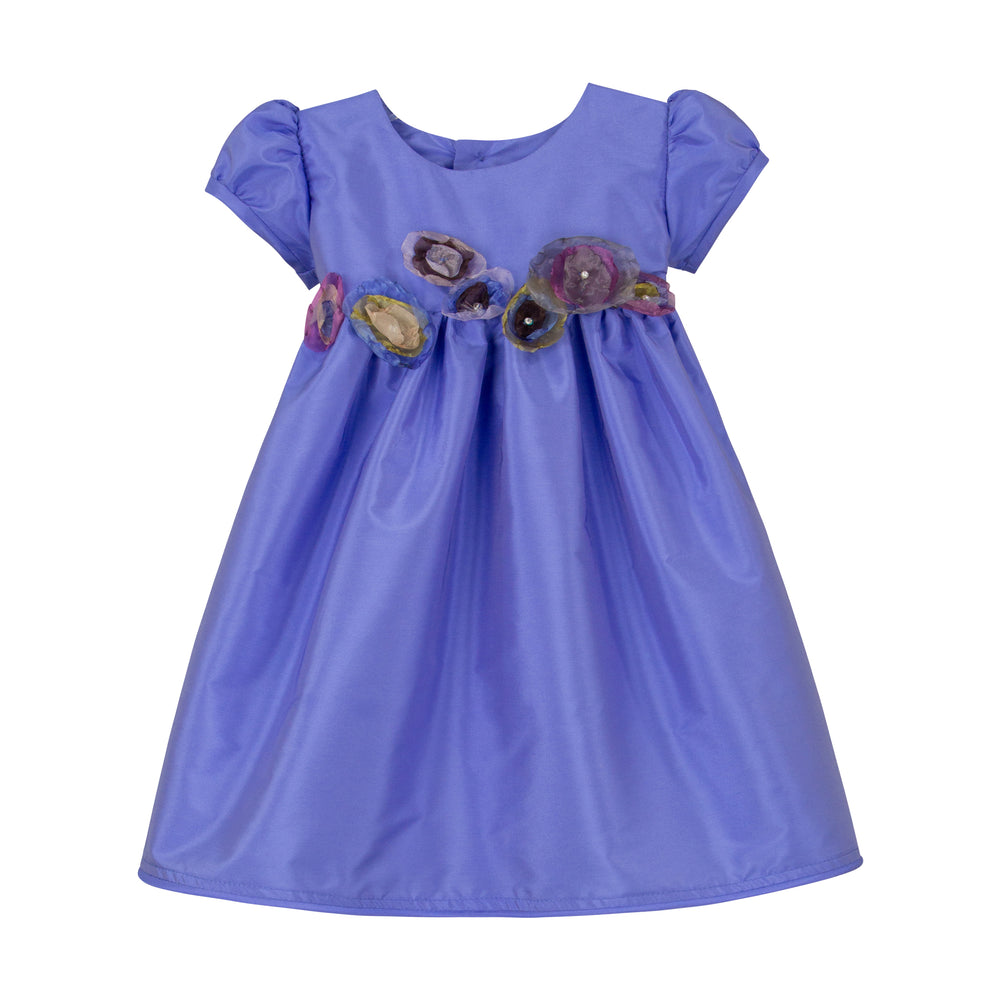 Lilac Taffeta Waisted Girls Dress with Organza Flowers Short Sleeve