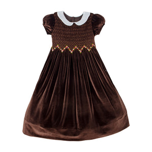 Short Sleeve Hand Smocked & Embroidered Chocolate Velvet Girls Dress