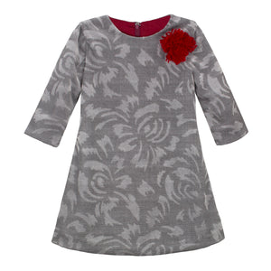 Abstract Floral Corduroy Girls Shift 3/4 Sleeve
