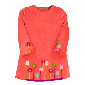Orange Corduroy Mohair Flowers Girls Shift 3/4 Sleeve
