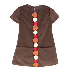 Corduroy Girls Shift with Felt Dots Cap Sleeve