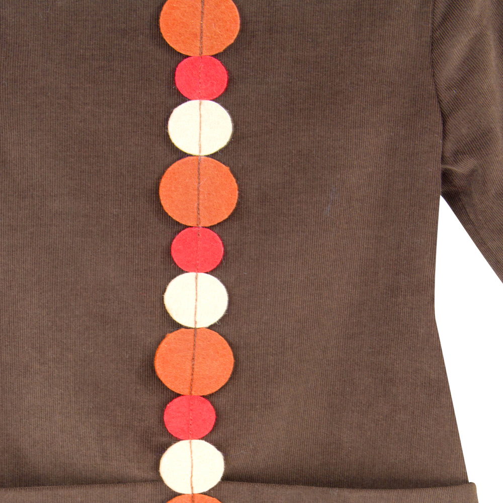 Corduroy Girls Shift with Felt Dots 3/4 Sleeve