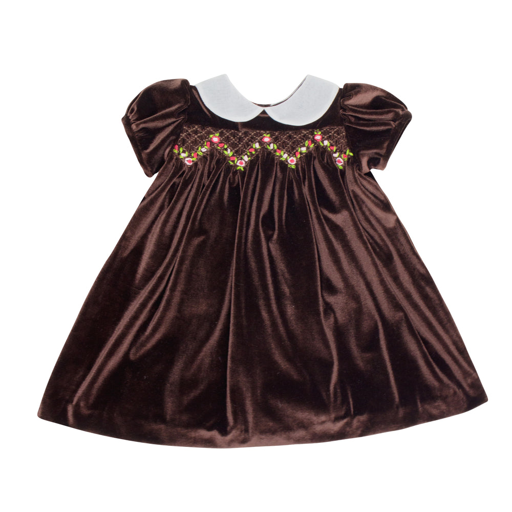 Smocked Chocolate Velvet Empire Waist Toddler Dress