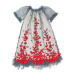 Felted Vines Tulle Girls Dress Short Sleeve
