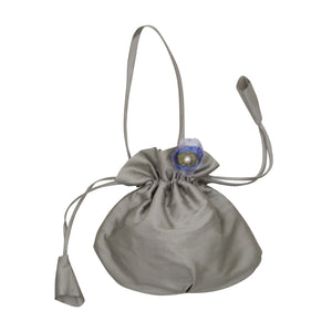 Silver Handbag With Organza Flower