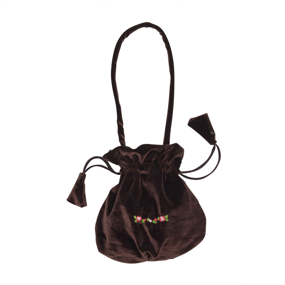 Chocolate Velvet Handbag With Embroidery