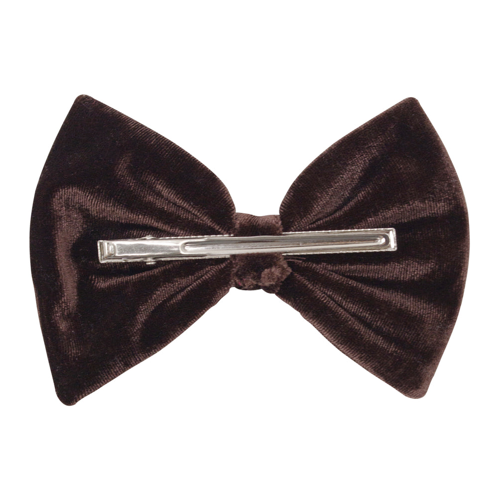 Bow Hair Clip In Chocolate Velvet