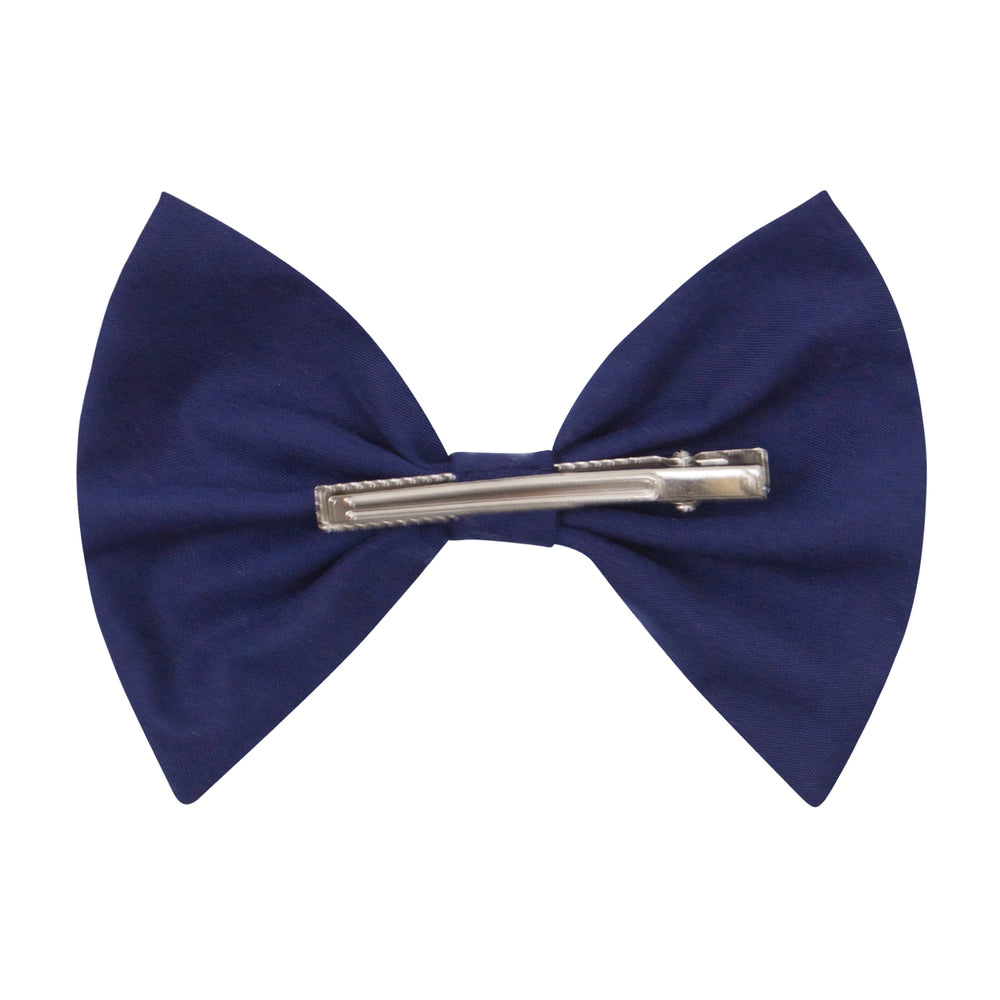 Bow Hairclip in Navy Cotton
