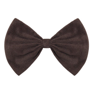 Bow Hairclip in Chocolate Corduroy