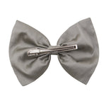Bow Hair Clip In Silver Taffeta