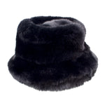 Black Faux Fur Bucket Hat