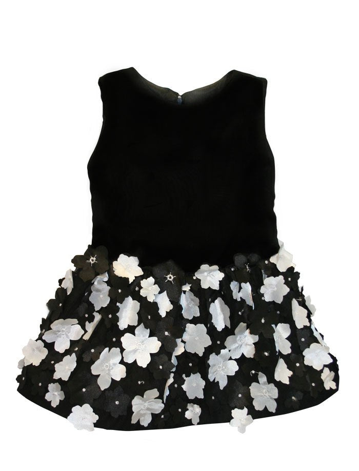 Black Chiffon & Flowers Drop Waist Girls Dress