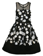 Black Chiffon Fluttering Floral Girls Dress