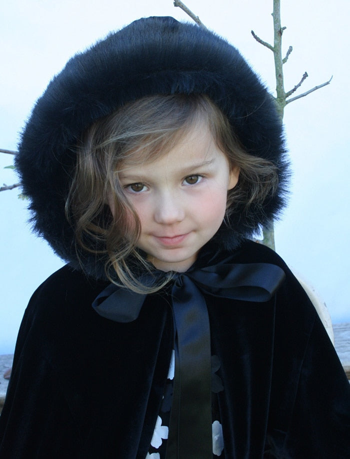 Girls Velvet Hooded Cape in Black with Faux Fur Trim