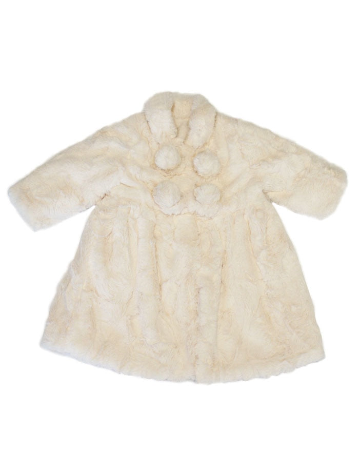 Winter White Faux Fur Toddler Coat & Bonnet