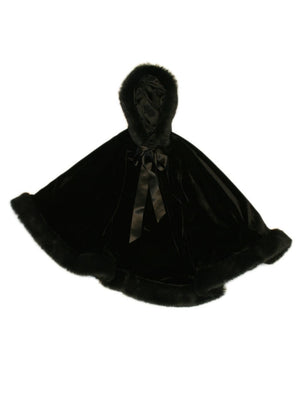 Girls Velvet Hooded Cape with Faux Fur Trim