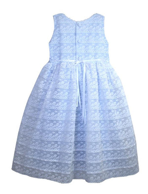 Illusion Sleeveless Reflections Lace Waisted Girls Dress with Ribbon Detail