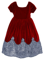 Sparkle Cap Sleeve Velvet Girls Dress with Sequins Hem