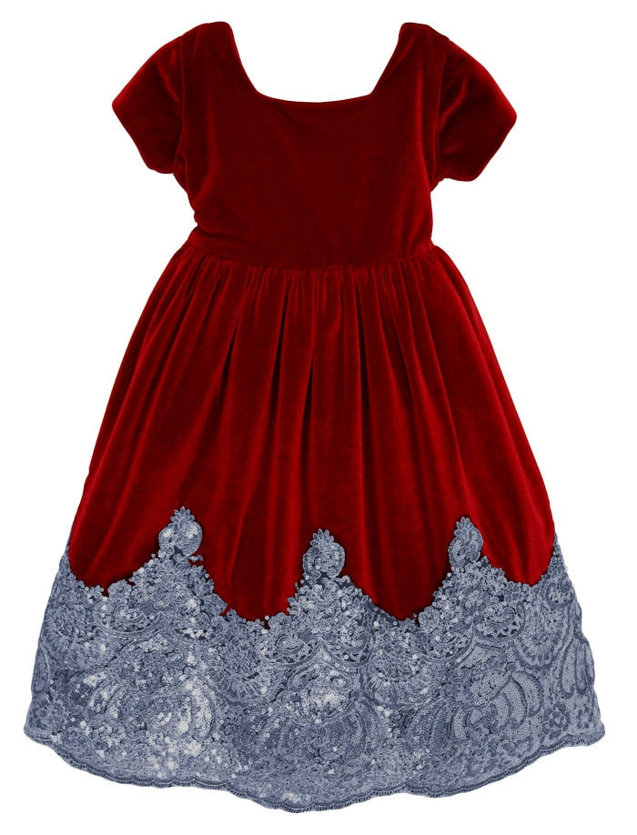 Sparkle Cap Sleeve Velvet Baby Dress with Sequins Hem