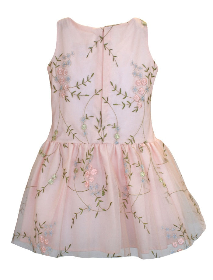Festival Embroidered Tulle Drop Waist Girls Dress