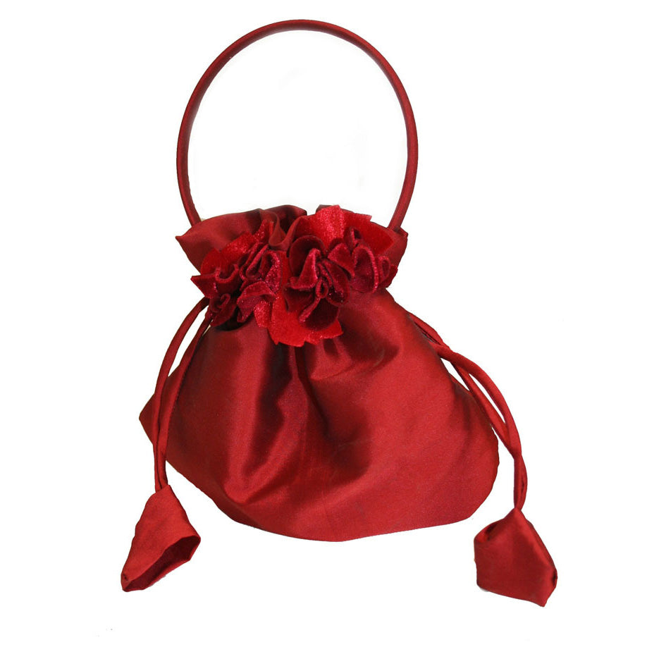 Girls Holiday Taffeta Handbag with Velvet Flowers