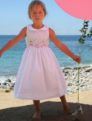 Roses Hand Embroidered Smocked Dress