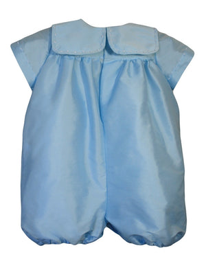 Charming Baby Boy Hand Embroidered Romper in Taffeta