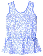 Dropwaist Cactus Girls Dress in Light Blue