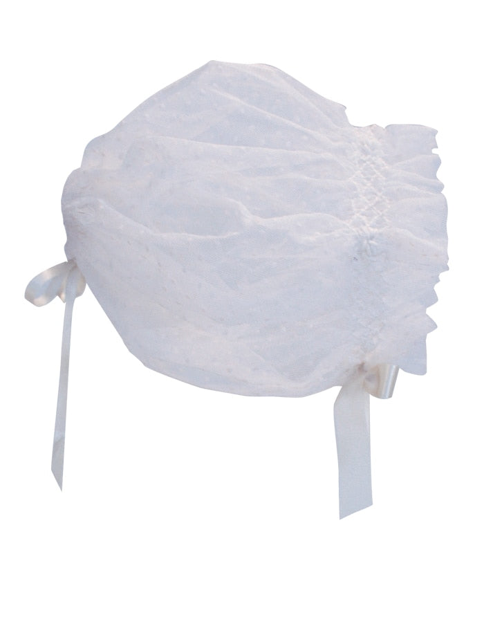Angelic Hand Smocked Swiss Dot Soft Tulle Bonnet