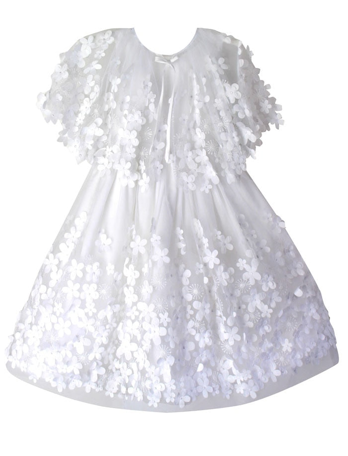 Flight of Fancy Embroidered Flowers Tulle Girls Dress