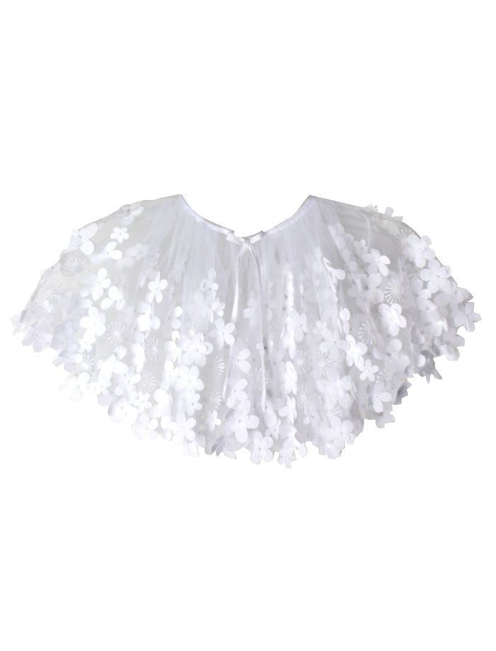 Flight of Fancy Cape of Embroidered Flowers Tulle
