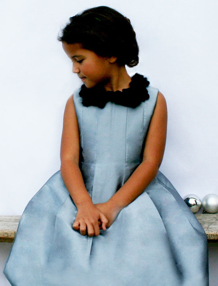 Tucked Bodice Box Pleats Taffeta Sleeveless Girls Dress