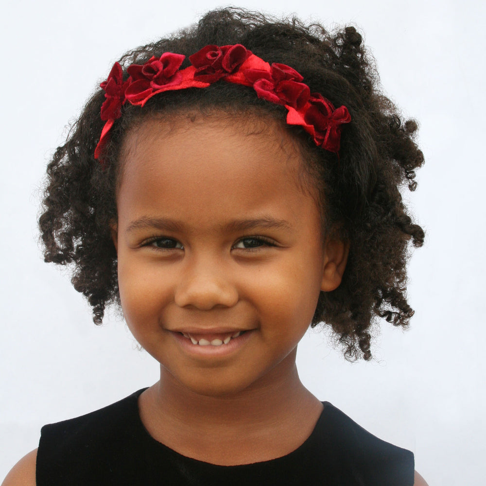 Red Taffeta Girls Holiday Headband with Velvet Flowers