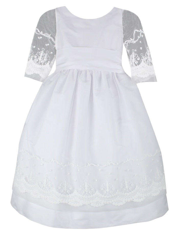 Grace Embroidered Tulle & Taffeta Half Sleeve Girls Dress Mid-Calf Length