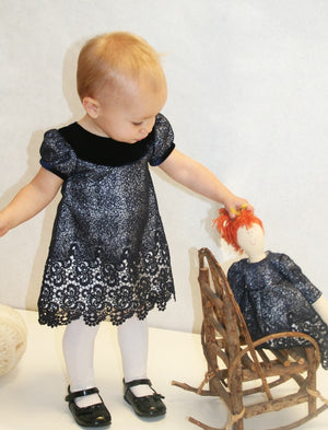 Short Sleeve Wide Velvet Collar A-Line Toddler Dress